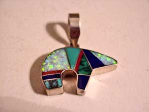 Navajo jewelry necklaces zuni sterling and inlaid bear pendant by arthur platero mozeypictures Choice Image