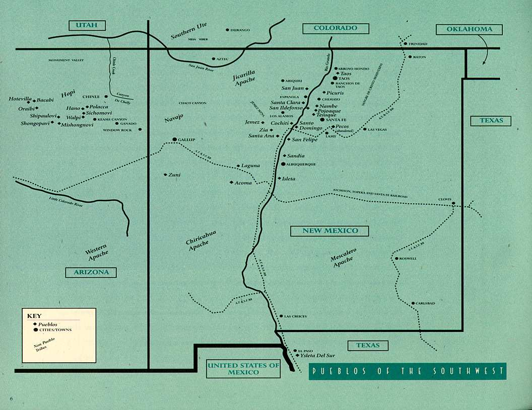 Pueblos New Mexico Map.Pueblo Pottery
